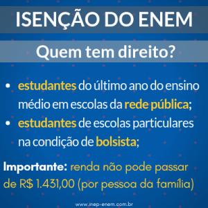 Isenção do ENEM 2019